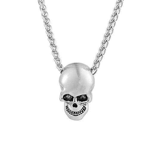 Kreative Schädel Kopf Halskette Persönlichkeit Hip Hop Halloween Anhänger Schmuck Silber
