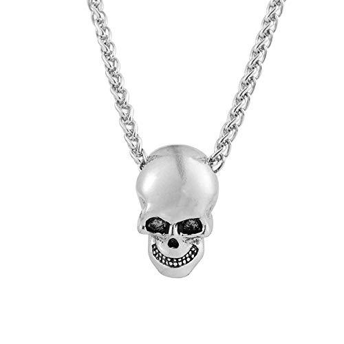 Cráneo Creativo Cabeza Collar Personalidad Hip Hop Halloween Colgante joyería Plata