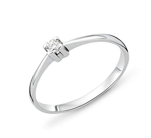 Miore–Anello di fidanzamento solitario in oro bianco con diamante 14KT (585), brillante 0.05CT, Oro bianco, 56 (17.8), colore: gold, cod. MU4004R56