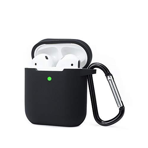 Funda AirPods Silicona Compatible con AirPods 2 & 1, KOKOKA Fundas Protectora de Silicona para AirPods [LED Frontal Visible][Funciona con Carga inalámbrica] con Correa Anti Pérdida-Negro