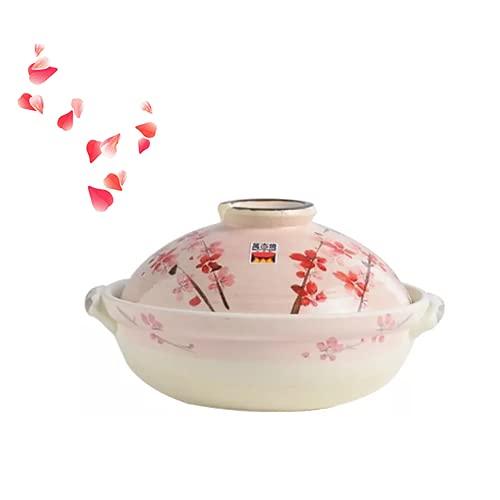 QTQHOME Japanisch Keramik Keramik Vorratsdosen,Eintopf Huhn Köstliche Sardinen Reis Nudeln,Klassisch Sakur-Muster Donabe Bräter Heißer Topf,Ofen Sicher-Rosa 28.5x16.5cm(11x6inch)