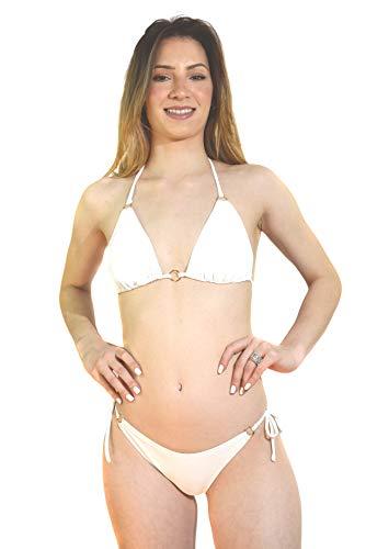Kiniby Bikini de mujer sexy y elegante de dos piezas de excelente calidad fabricado en Brasil para playa de Brasil. Bianco X-Large