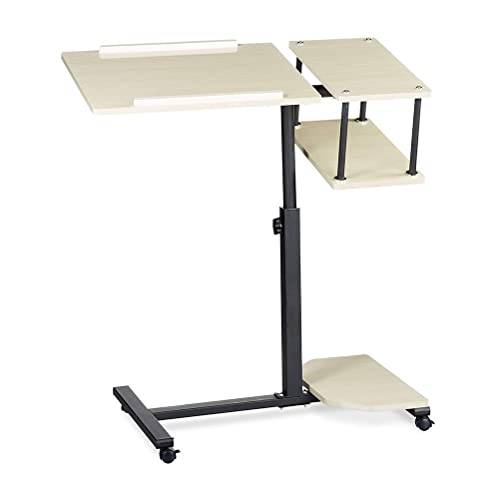 Mesa con Ruedas Cama Escritorio De Pie Móvil para Ordenador Portátil Auxiliar Sofa Altura Ajustable Soporte Laptop Bloqueo Regulable Sofá (Color : White)