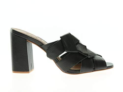 Carrano Vaqueta Damen Slipper Pumps Heels mit Absatz Schwarz Leder, Größe:37