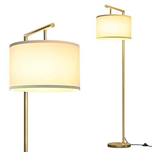 addlon Montage Modern Floor Lamp for Living Room and Bedroom, Nursery Standing Accent Lamp, Mid Century, 5' Tall Pole Light Overhangs Lamp, with LED Bulb - Gold