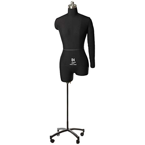 Maniqui Costura Mujer Modista Negro Forma del Vestido Maniquí de Costura Mujer, Ligero Espuma de Poliestireno Cuerpo de Maniquí de Costura con Brazo Flexible y Ruedas para Pantallas de Decor del Hogar