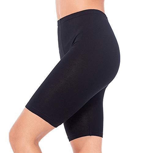 MANCYFIT Short Leggings for Women Slip Shorts Mid Thigh Legging Plus Size Undershorts Flat Black Large