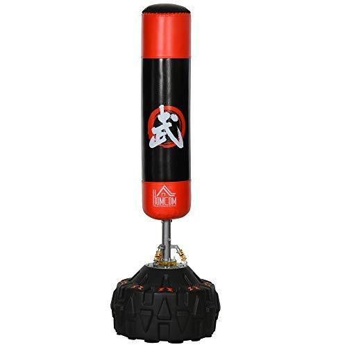 HOMCOM Saco de Boxeo de Pie Soporte de Boxeo para Adultos Base Grande Rellenable de Arena 60 kg/Agua 50 kg Resortes Amortiguador Φ60x180 cm Negro y Rojo