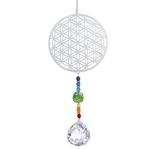 H&D Kristall Regenbogen Sonnenfänger Metall Blume des Lebens Anhänger Glas Chakra Kugelprisma