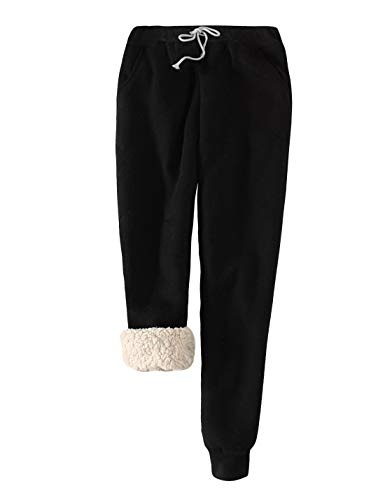 Snoly Women's Winter Fleece Sweatpants Running Active Thermal Sherpa Lined Jogger Pants with Candy Colors (Black, Medium)