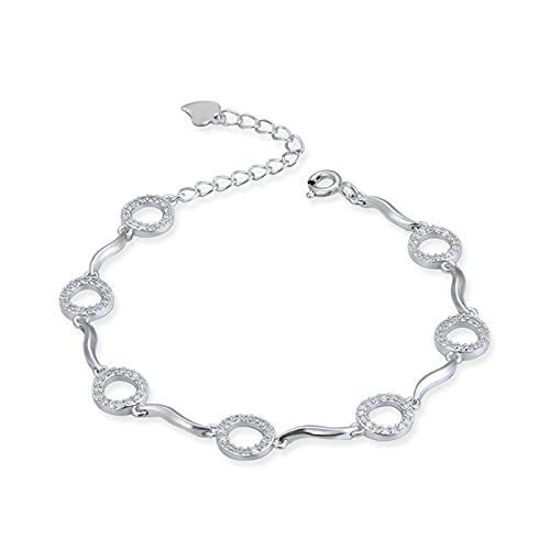 Cadena de mano para mujer Accesorios de muñeca S925 Sterling Silver Circle Micro Inlaid Bracelet