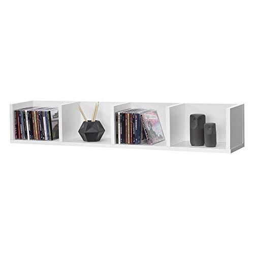 [en.casa] Wandregal Ekerö Hängeregal mit 4 Ablagen Schweberegal 95 x 17 x 16,5 cm Wandboard Weiß