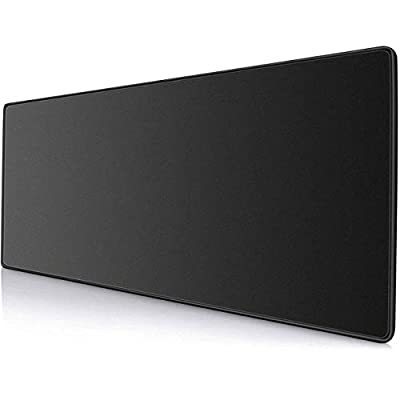 Ktrio Extended Gaming Mouse Pad with Stitched Edges, Large Mousepad with Premium-Textured Cloth, Non-Slip Rubber Base, Waterproof Keyboard Pad, Desk Mat for Gamer, Office & Home, 31.5 x 11.8 in, Black