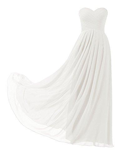 HUINI Ballkleider Trägerlos Schulterfrei Chiffon Lang Brautjungfernkleid Abendkleider mit...