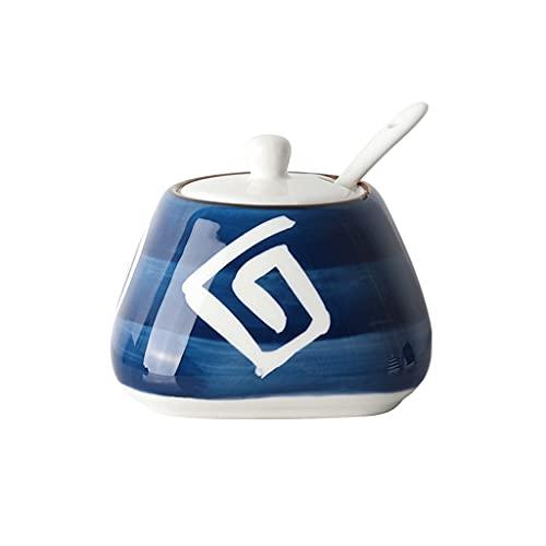 Barattoli di Spezie in Ceramica, Pentole Condimento Dipinte A Mano con Copertina E Cucchiaio, Cucina Condimento Bottiglia Sale Shaker Zucchero Ciotola, 300 Ml / 10,6oz (Color : D)