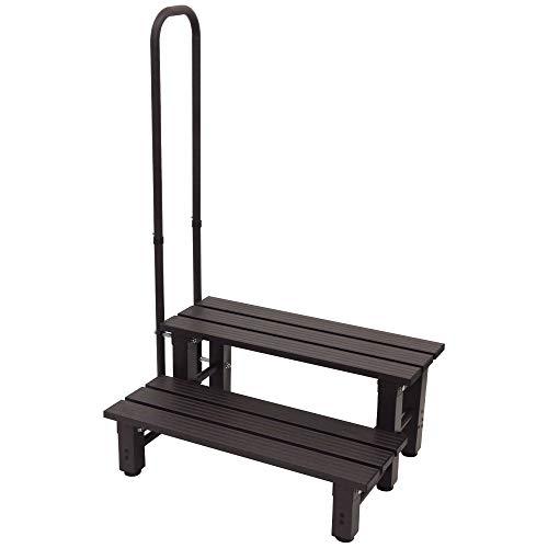 iimono117 Bandiera iimono117 手すり付き踏み台 アルミ製 玄関台 踏み台 ステップ台 [ 1段 2段 ] / 手すり 玄関 アルミ昇降 玄関ステップ 昇降補助 段差解消 転倒防止 (2段/片手)