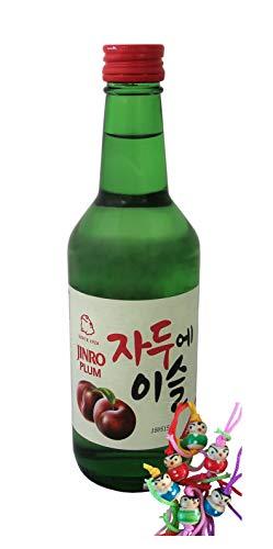 yoaxia ® Marke Set - [ 360ml ] HITEJINRO Soju Jinro Plum/Soju mit Pflaumengeschmack Alc. 13% vol. + ein kleines Glückspüppchen - Holzpüppchen