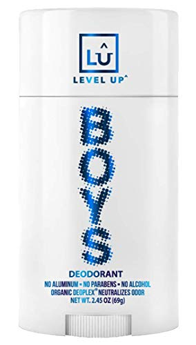 Level Up Boys Deodorant: Aluminum-Free, Alcohol-Free, Paraben-Free, 24 Hr Odor Protection, Clean Fresh Scent, Kids & Tweens, Made in the USA