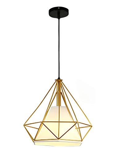 Vecys Lámpara Colgante Industrial Vintage E27 Araña de Restaurante Nórdico Loft Light Simple y Creativo Arte Moderno Araña de Diamantes(Dorado,38CM)