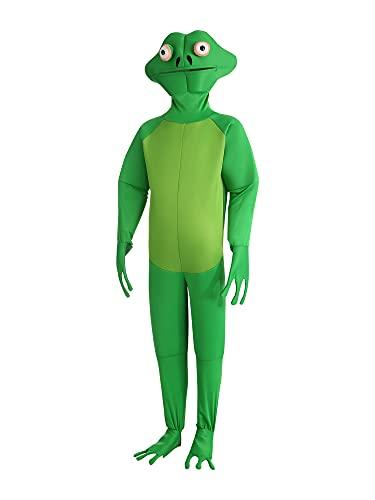 Disfraz de Halloween Disfraces de Rana de Gallo Mono Divertido Adulto Cosplay Animal Onesie, verde, XL