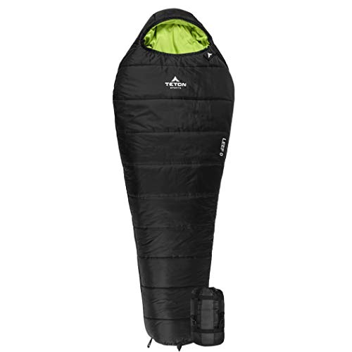 TETON Sports LEEF Lightweight Adult Mummy Sleeping Bag; Great for Hiking, Backpacking and Camping; Free Compression Sack; Black , Adult – 87″ x 34″ x 22″