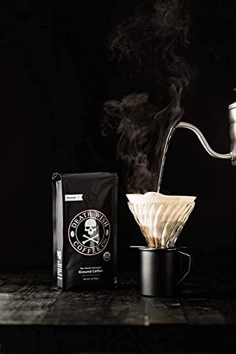 DEATH WISH COFFEE Dark Roast Coffee Grounds [16 oz.] The World's Strongest Coffee, USDA Certified Organic, Fair Trade, Arabica, Robusta (1-Pack)