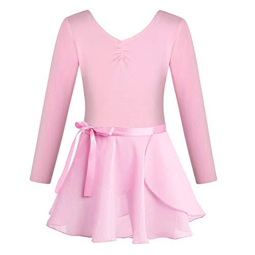 FONLAM Vestido Maillot de Ballet para Niña Conjunto de Dos Piezas Maillot + Falda Danza Gimnasia Ballet Niña (7-8 Años, Rosa)
