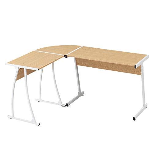 Mesa de escritorio moderna en forma de L con escritorio de madera y patas de metal para oficina, hogar, 3 piezas en 1, roble