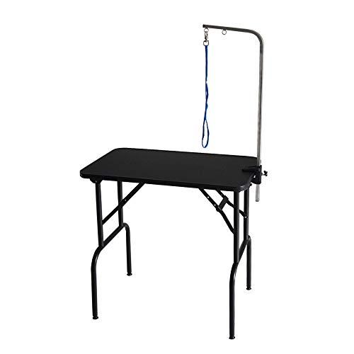 プチリュバンのトリミングテーブル Mサイズ 高さ75〜78cm/アジャスター付/台面ブラック75×46cm/足ブラック/折畳機能 (BB75-78)