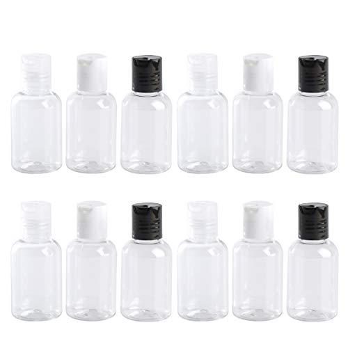 Hemoton 12Pcs 50Ml Tragbare Reise Leere Flaschen Klares Wasser Handseife Shampoo Flaschen Kosmetische Lotion Kunststoffflaschen Mehrwegflaschen mit Press Klappverschluss für Liquid