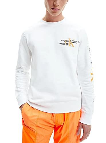 Calvin Klein - Playera para Caballero J30J318307 YAF - Sudadera Blanca SIN Capucha Hombre (s)