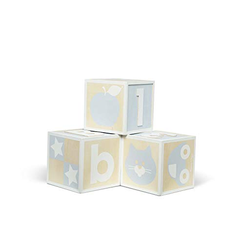Melissa & Doug Set of 3 Jumbo Wooden ABC-123 Alphabet and Number Toy Blocks Nursery Playroom Decor - Natural (White, Wood, Blue-Gray, Great Gift for Girls & Boys - Best for 2, 3, 4 Year Olds and Up)