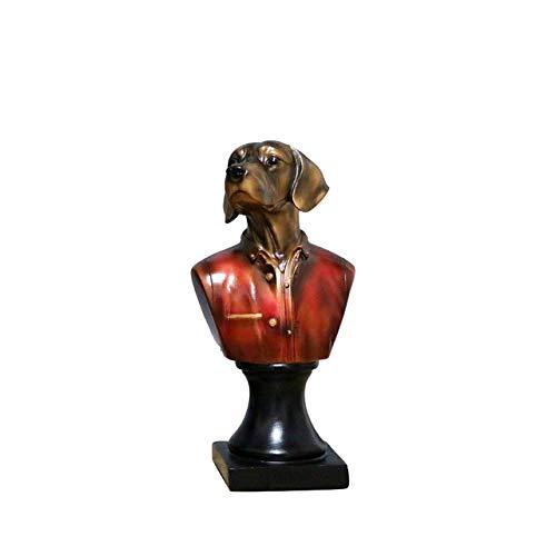 Estatuas y figuras de KKUUNXU para jardín Vintage Animal Uniform Busto Escultura Decorada con estatuas artificiales de Caballos de perro y gato Cabezas para conmemorar la decoración del