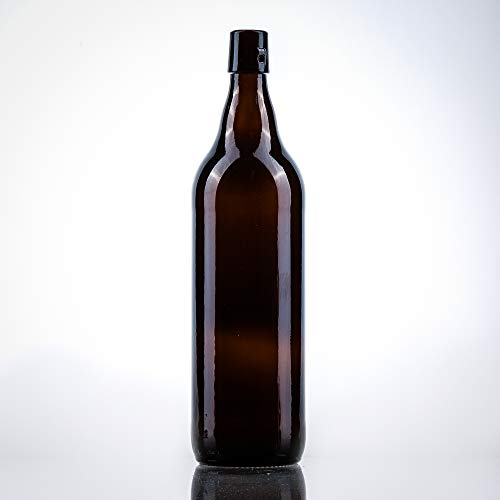 12 x Bierflaschen 1 l inkl. passenden Bügelverschluss – 12 Glasflaschen 1l im Bundle perfekt geeignet als Einmachflaschen 1l, Schnapsflaschen 1l.