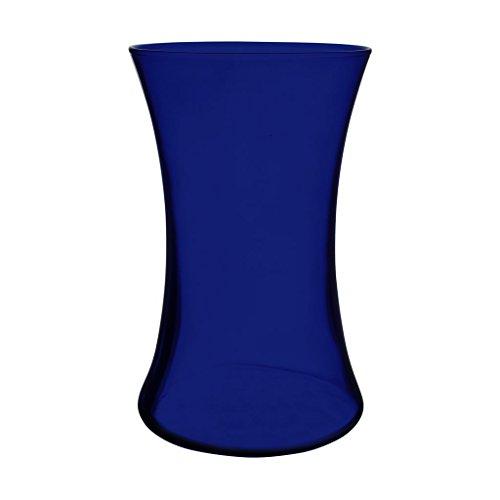 Floral Supply Online 8' Cobalt Blue Gathering Vase and Flower Guide Booklet - Decorative Glass Flower Vase for Floral Arrangements, Weddings, Home Decor or Office.