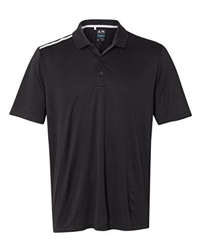 adidas Golf Mens 3-Stripes Shoulder Polo (A233) -Black/Whit -4XL