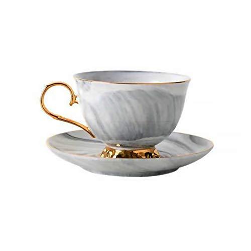 Angoily Juego de Tazas Y Platillos de Té Tazas de Café Tazas de Té Británico Juego de Té de Porcelana Juego de Tazas de Café con Leche Gris