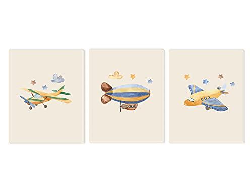 Pack 3 Tríptico cuadros con marco decorativos de lienzo impreso infantiles para decoración pared habitación dormitorio niños con bastidor de madera - 3 cuadros tamaño 40x50cm (Aviones)