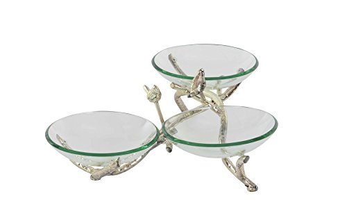 Deco 79 68582 Glasschale mit drei Eisen-Zweigenhaltern und Ständer, silber/grün