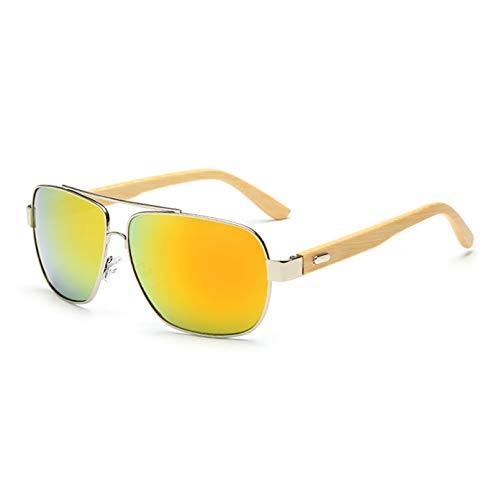 Gafas de sol de bambú de metal de madera para mujer Aviator Square Designer Gafas de sol con espejo originales Hombres que conducen Gafas de sol retro