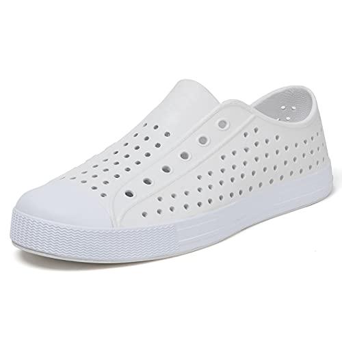 SAGUARO Unisex Adult Quick Dry Garden Shoes Lightweight Slip On Non-Slip Garden Shoes for Mens Womens Beach Sandals Breathable Flats Sporty Sneakers White 6 Women/4 Men