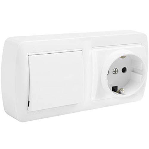 Schuko + Interruptor/Conmutador de Superficie • Interruptor conmutador de superficie • Enchufe de pared • Toma corriente • Color blanco
