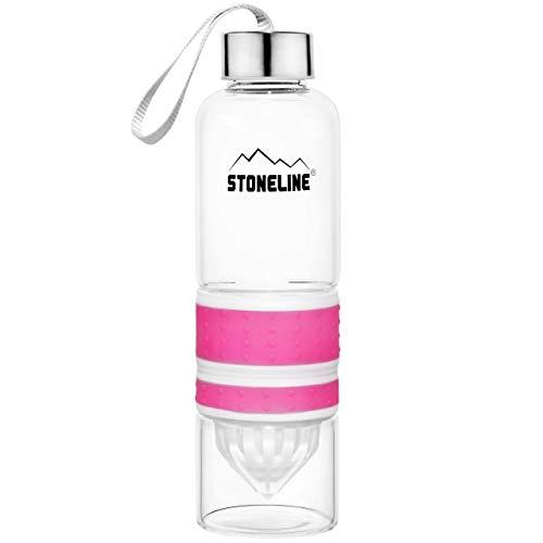 STONELINE 2 in 1 Trinkflasche mit Saftpresse, 550 ml, pink