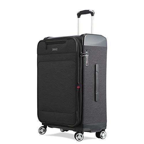 UNITRAVEL Suitcase Soft Expandable 76 Centimeters 100 Liters 4 Wheels Black TSA Lock