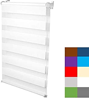 S SIENOC Doble persiana Enrollable Duorollo Estor Enrollable Doble Tejido Persiana para Las Ventanas de Oficina Estar Dormitorio (Blanco, 50x150 cm)