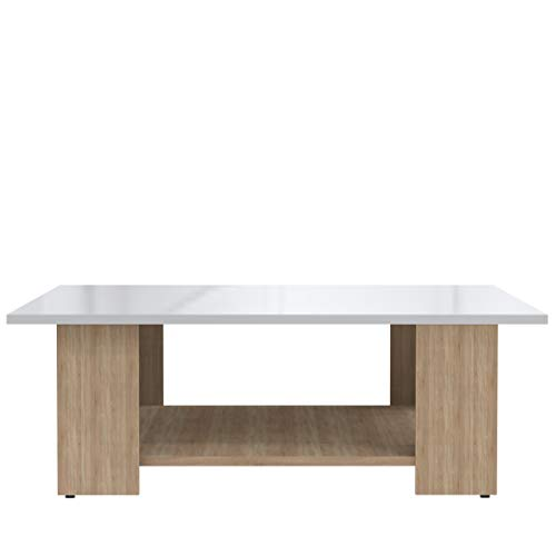 TemaHome Table Basse Bois Chêne/Naturel/Plateau Laque/Blanc 89 x 30,5 x 89 cm 2086A3419L00