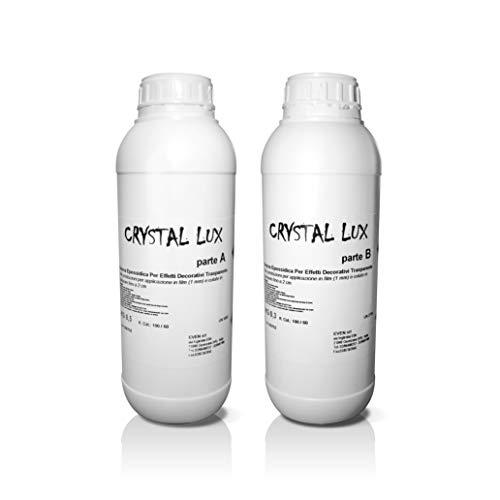 Resina epossidica trasparente - CRYSTAL LUX KG 0,800 - Bicomponente A+B - effetto acqua - elevata trasparenza - resina per gioielli e bijoux - resina per decorazioni - resina per stampi - oggettistica