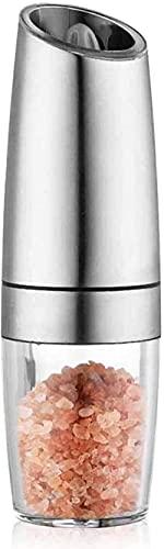 GDEVNSL Molinillo eléctrico de Acero Inoxidable Molinillo de Pimienta de inducción de Gravedad de Acero Inoxidable Molinillo de Pimienta Molinillo de Sal Molinillo de Pimienta Molinillo de Sal