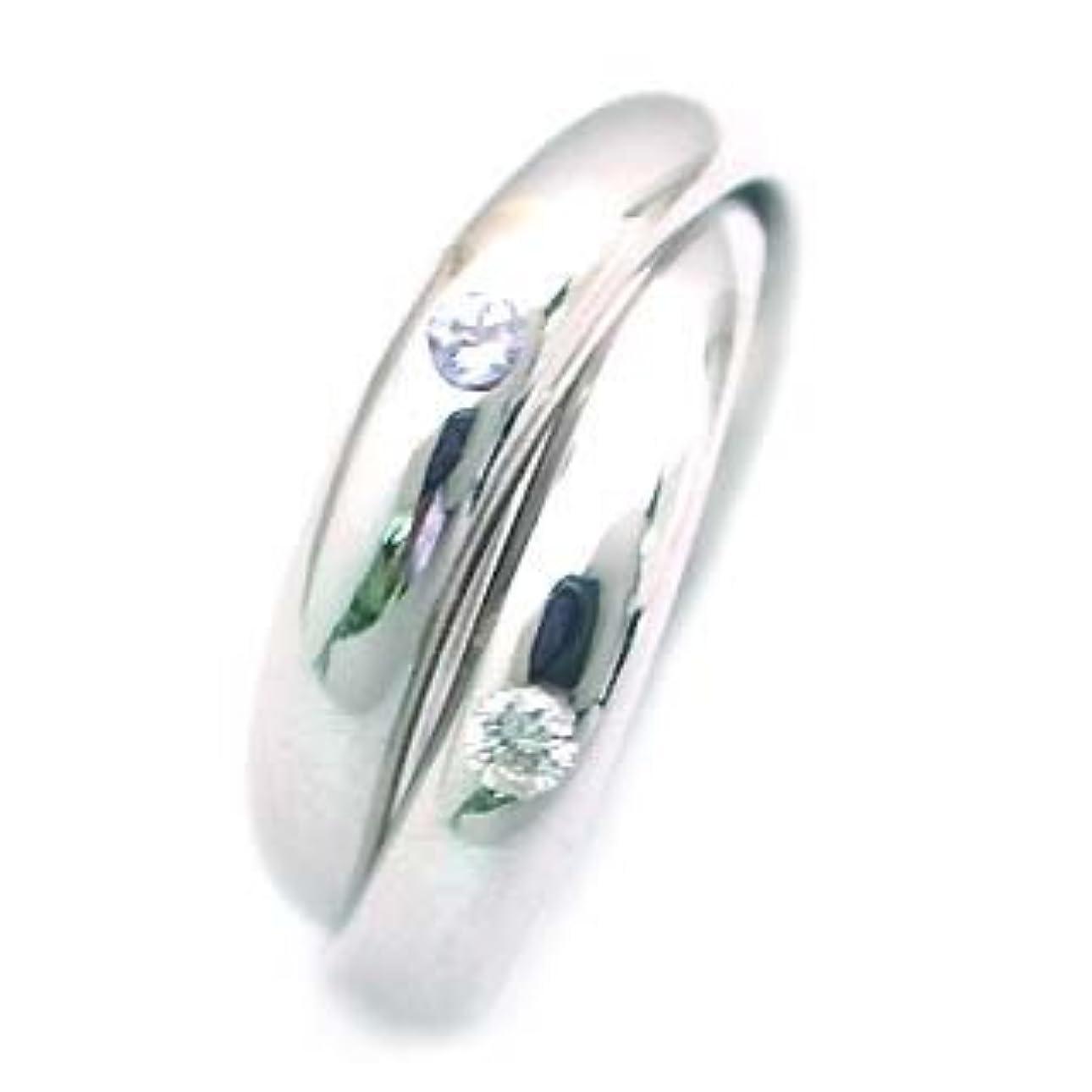 陰気カニひねり(12月誕生石) K18ホワイトゴールド タンザナイト?ダイヤモンド2連リング #9