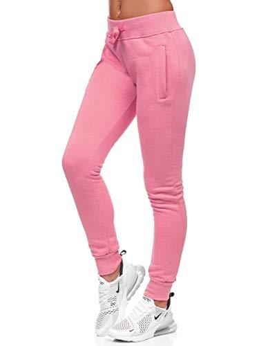 BOLF Mujer Pantalón Deportivo Pantalón de Chándal Largos Jogger Pantalones de Algodón Slim Fit CK-01 Rosa Claro S [F6F]